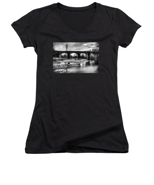 Thomas Viaduct In Black And White Women's V-Neck
