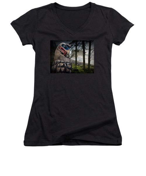 Totem Pole In The Pacific Northwest Women's V-Neck (Athletic Fit)