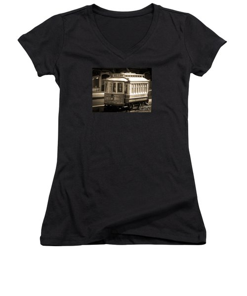 Women's V-Neck T-Shirt (Junior Cut) featuring the photograph Vintage Train Trolley by Melissa Messick