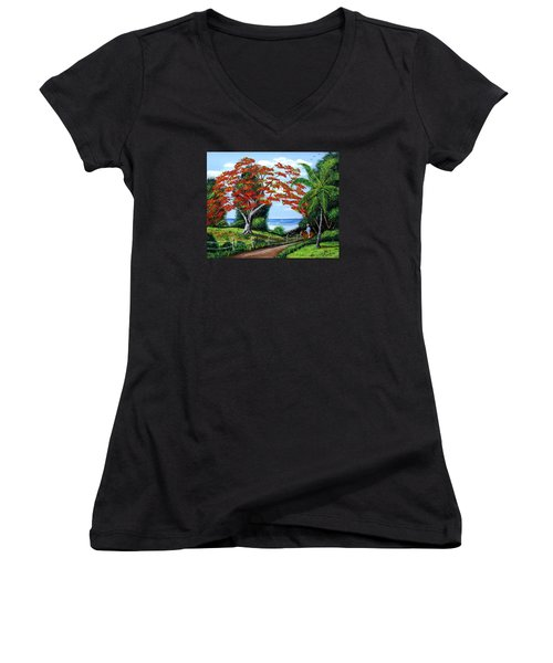 Tropical Landscape Women's V-Neck (Athletic Fit)
