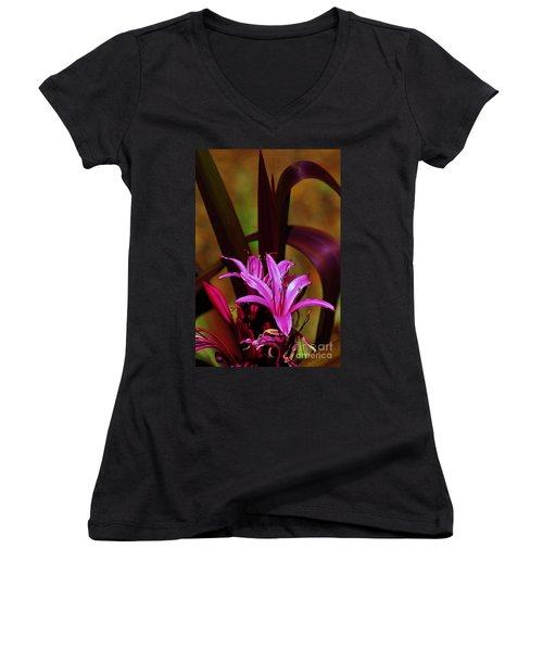 Tropical Lily Women's V-Neck T-Shirt (Junior Cut) by Craig Wood