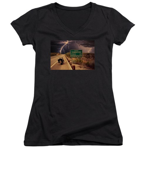 Trouble In Tombstone Women's V-Neck T-Shirt (Junior Cut) by Gary Baird