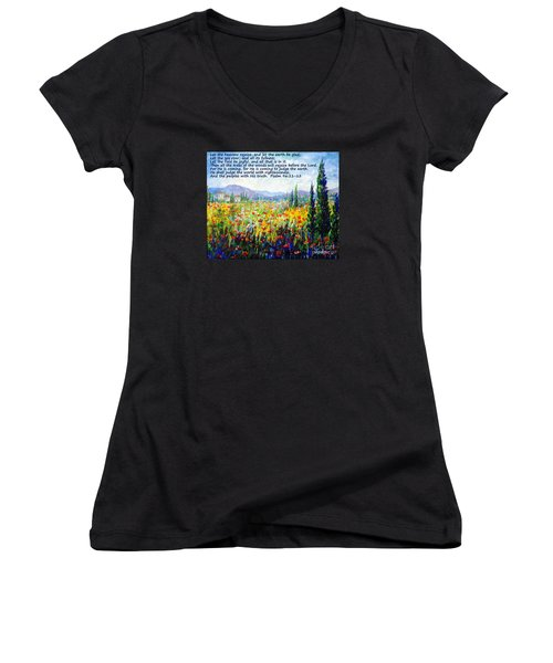 Women's V-Neck T-Shirt (Junior Cut) featuring the painting Tuscany Fields With Scripture by Lou Ann Bagnall