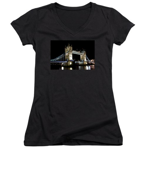 View Of The River Thames And Tower Bridge At Night Women's V-Neck T-Shirt