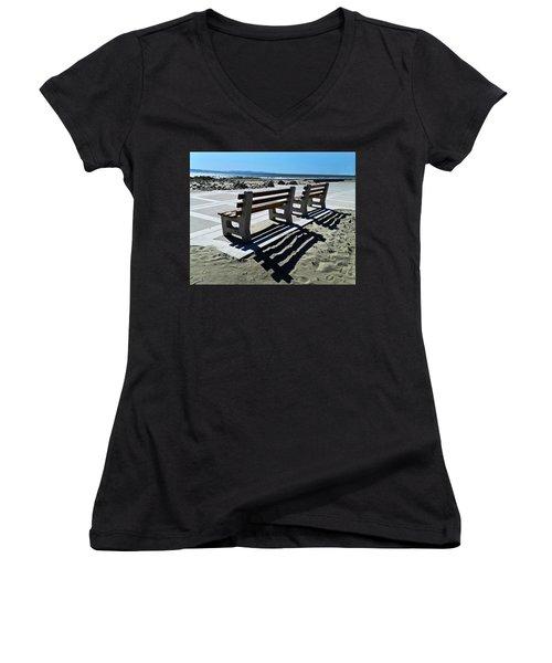 Waiting Women's V-Neck T-Shirt (Junior Cut) by Joe  Palermo