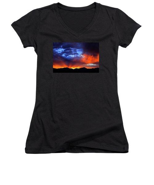 Wasatch Sunrise Women's V-Neck T-Shirt (Junior Cut) by Paul Marto