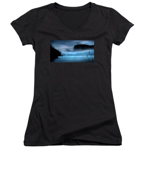 Women's V-Neck T-Shirt (Junior Cut) featuring the photograph While You Were Sleeping by John Poon