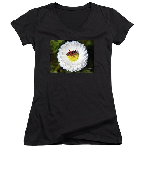 Women's V-Neck T-Shirt (Junior Cut) featuring the photograph White Flower by Elvira Ladocki
