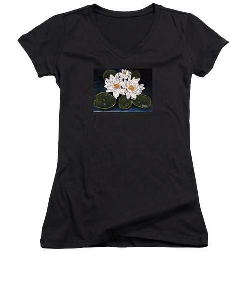 White Water Lily Women's V-Neck