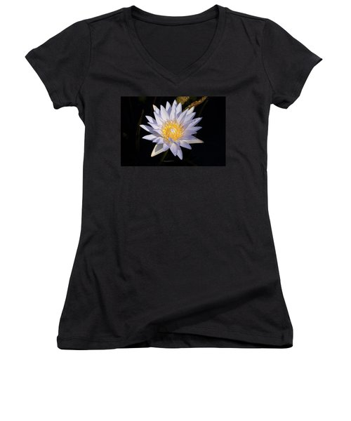 Women's V-Neck T-Shirt (Junior Cut) featuring the photograph White Water Lily by Steve Stuller
