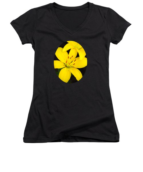Yellow Lily Flower Women's V-Neck T-Shirt (Junior Cut) by Christina Rollo