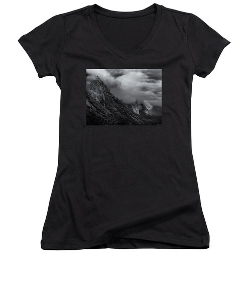 Yosemite Valley Panorama In Black And White Women's V-Neck