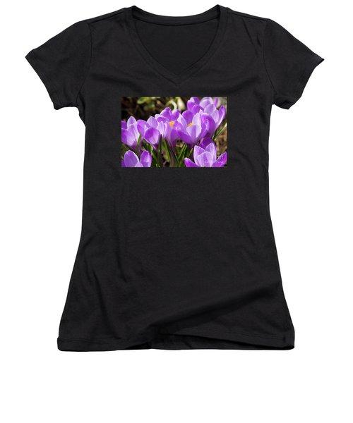 Purple Crocuses Women's V-Neck T-Shirt (Junior Cut) by Irina Afonskaya