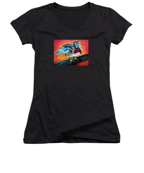 122215 Male Wood Duck Women's V-Neck T-Shirt (Junior Cut) by Garland Oldham