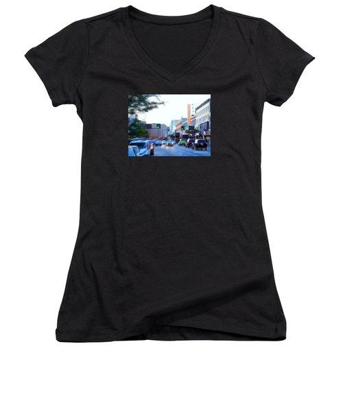 125th Street Harlem Nyc Women's V-Neck T-Shirt (Junior Cut) by Ed Weidman