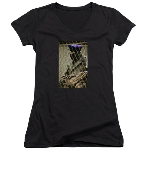 Women's V-Neck T-Shirt (Junior Cut) featuring the photograph 12th Man by Craig Wood