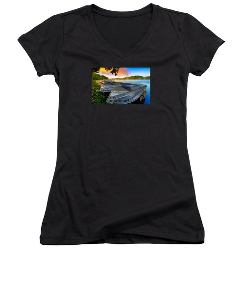 Lake Logan 2 Women's V-Neck T-Shirt (Junior Cut) by Brian Stevens
