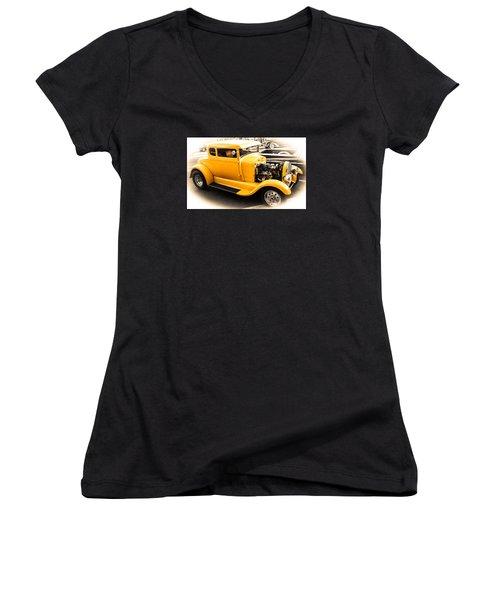 Vintage Car Women's V-Neck T-Shirt (Junior Cut) by Mickey Clausen