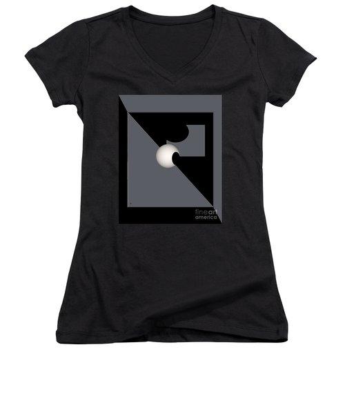 Women's V-Neck T-Shirt (Junior Cut) featuring the digital art 1354-2  2017 by John Krakora