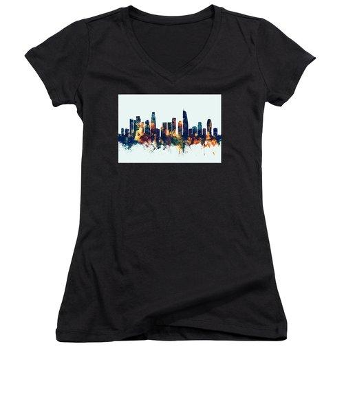Los Angeles California Skyline Women's V-Neck T-Shirt (Junior Cut)