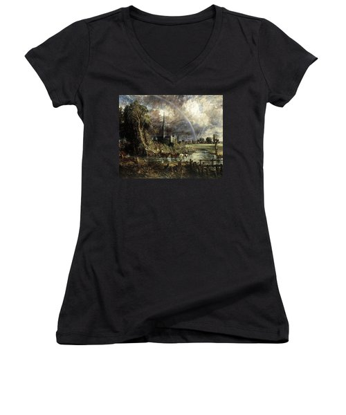 Salisbury Cathedral From The Meadows Women's V-Neck
