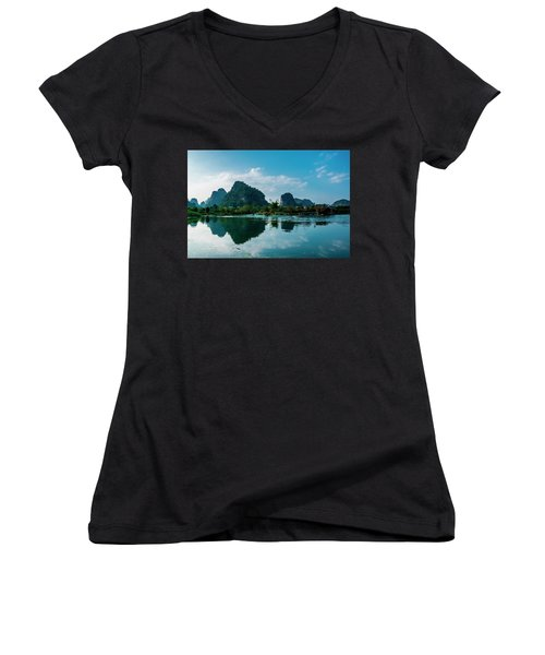 The Karst Mountains And River Scenery Women's V-Neck