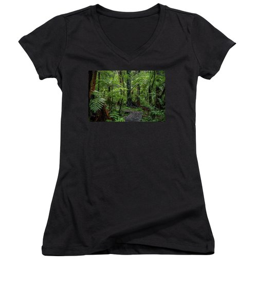 Women's V-Neck T-Shirt (Junior Cut) featuring the photograph Forest Boardwalk by Les Cunliffe