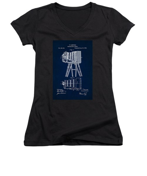 1885 Camera Us Patent Invention Drawing - Dark Blue Women's V-Neck T-Shirt