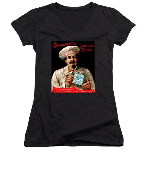1895 Shredded Codfish Breakfast Women's V-Neck T-Shirt