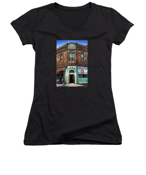 1898 Hotel Connor - Jerome Arizona Women's V-Neck T-Shirt (Junior Cut) by Saija  Lehtonen