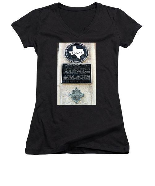 Women's V-Neck T-Shirt (Junior Cut) featuring the photograph 1900 Storm Galveston by Wilhelm Hufnagl