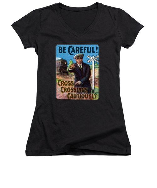1910 Be Careful At Railroad Crossings Women's V-Neck (Athletic Fit)