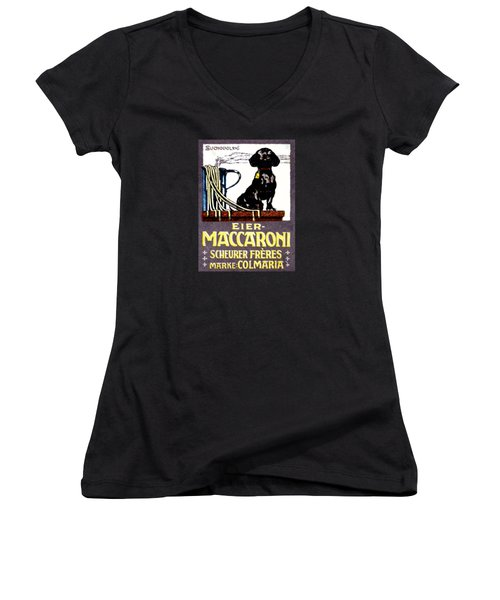 1910 Dachshund And Macaroni Poster    Women's V-Neck T-Shirt (Junior Cut) by Historic Image
