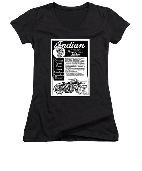 Women's V-Neck T-Shirt (Junior Cut) featuring the digital art 1913 Indian Motorcycle Is The Best by Daniel Hagerman