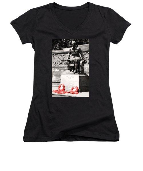 1914 The Call Women's V-Neck T-Shirt (Junior Cut) by Martina Fagan