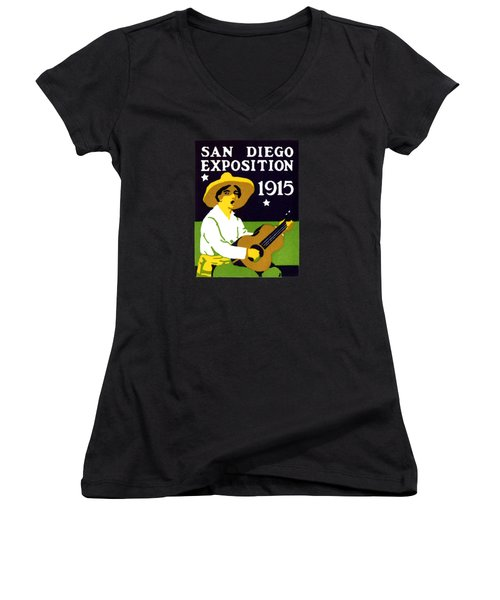 1915 San Diego Expo Poster 2 Women's V-Neck T-Shirt (Junior Cut) by Historic Image