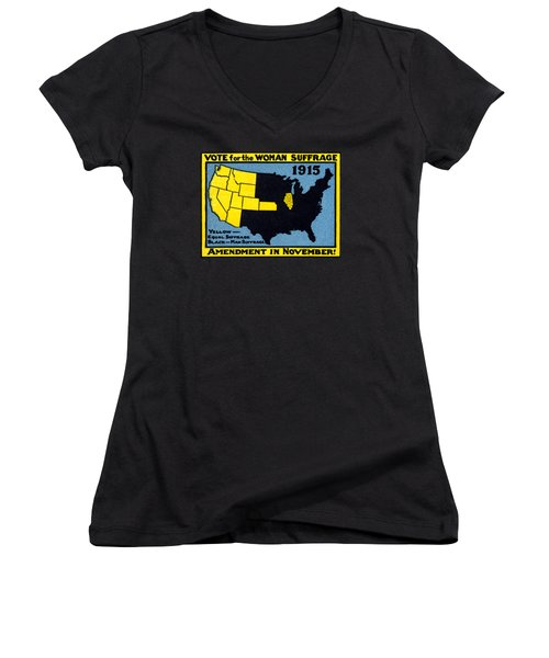 1915 Vote For Women's Suffrage Women's V-Neck T-Shirt (Junior Cut) by Historic Image
