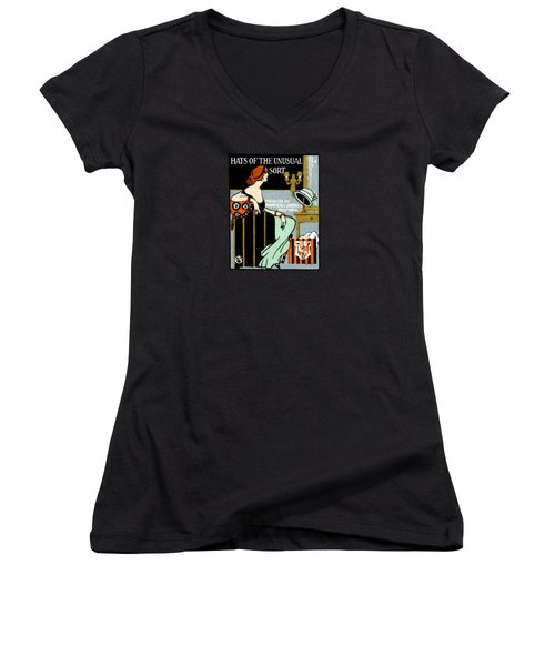 1920 Hats Of The Unusual Sort Women's V-Neck T-Shirt (Junior Cut) by Historic Image