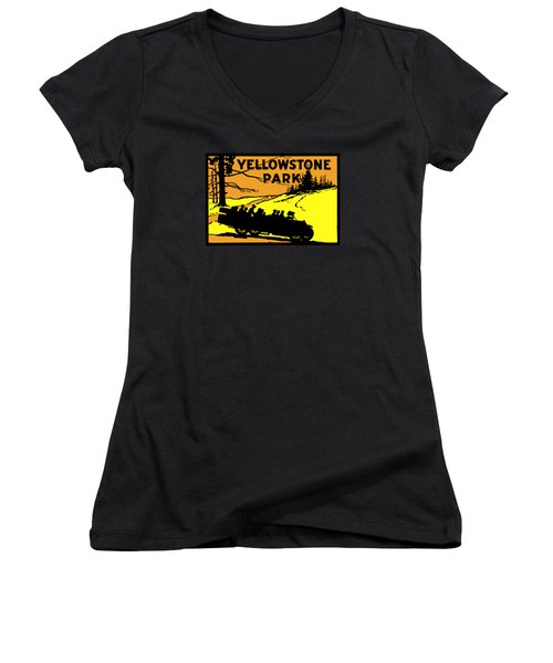 1920 Yellowstone Park Women's V-Neck T-Shirt (Junior Cut) by Historic Image