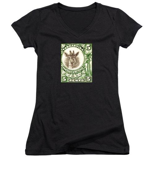 1922 East African Giraffe Stamp Women's V-Neck T-Shirt