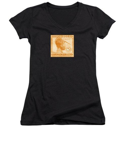 Women's V-Neck T-Shirt (Junior Cut) featuring the painting 1923 Belgian Congo Ubangi Woman by Historic Image