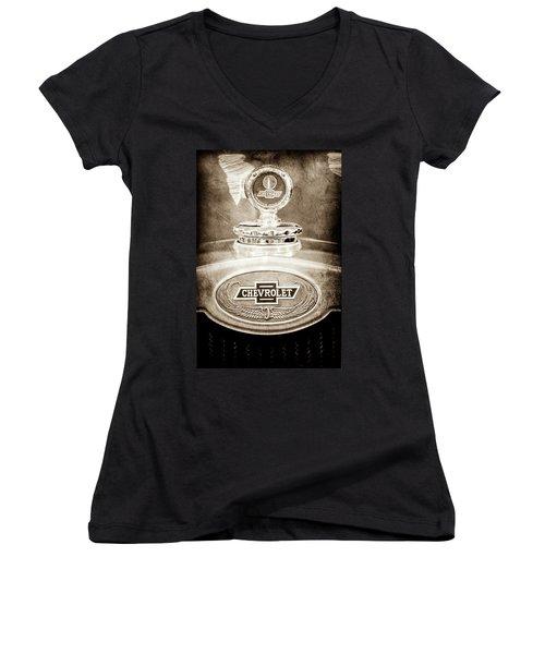Women's V-Neck T-Shirt (Junior Cut) featuring the photograph 1928 Chevrolet 2 Door Coupe Hood Ornament Moto Meter -0789s by Jill Reger