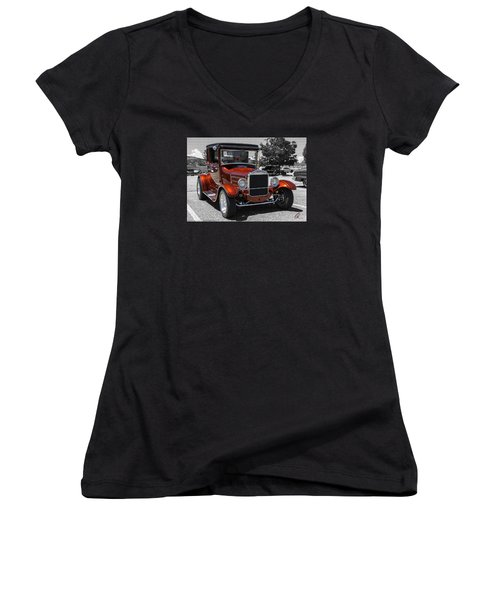 1928 Ford Coupe Hot Rod Women's V-Neck T-Shirt (Junior Cut) by Chris Thomas