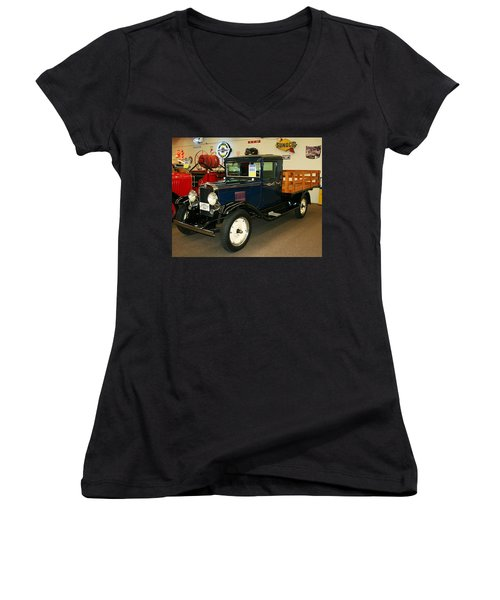 1930 Chevrolet Stake Bed Truck Women's V-Neck (Athletic Fit)