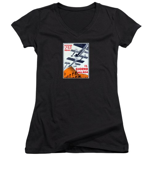 Women's V-Neck T-Shirt (Junior Cut) featuring the painting 1930 Italian Air Show by Historic Image