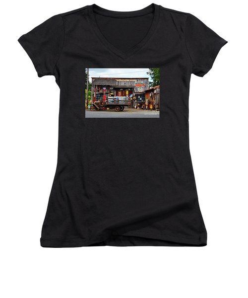 1930s Gas Station And Garage Women's V-Neck T-Shirt (Junior Cut) by Ansel Price