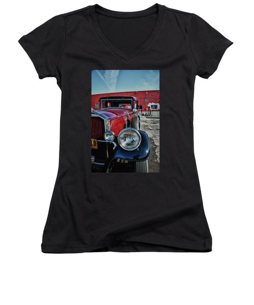 Women's V-Neck T-Shirt (Junior Cut) featuring the photograph 1931 Pierce Arow 3473 by Guy Whiteley
