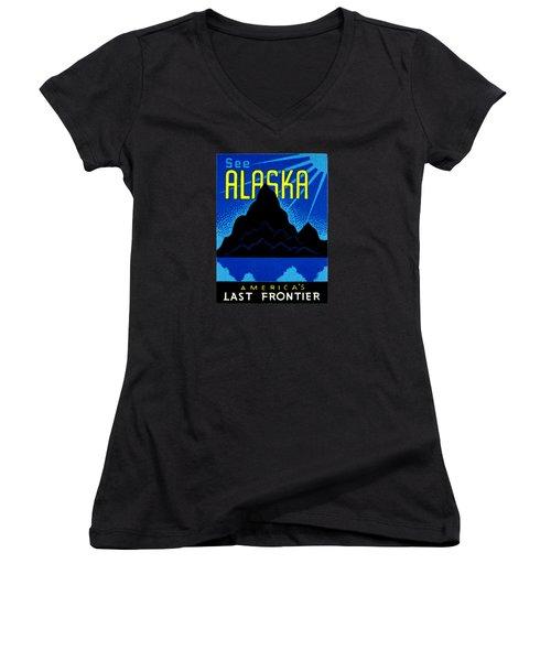 1935 See Alaska Poster Women's V-Neck T-Shirt
