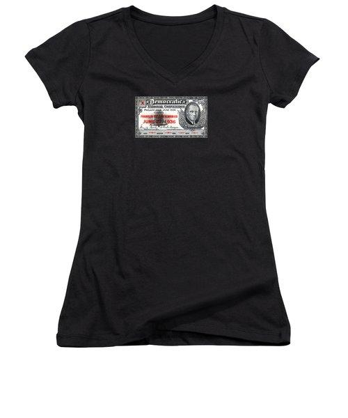 1936 Democrat National Convention Ticket Women's V-Neck T-Shirt (Junior Cut) by Historic Image