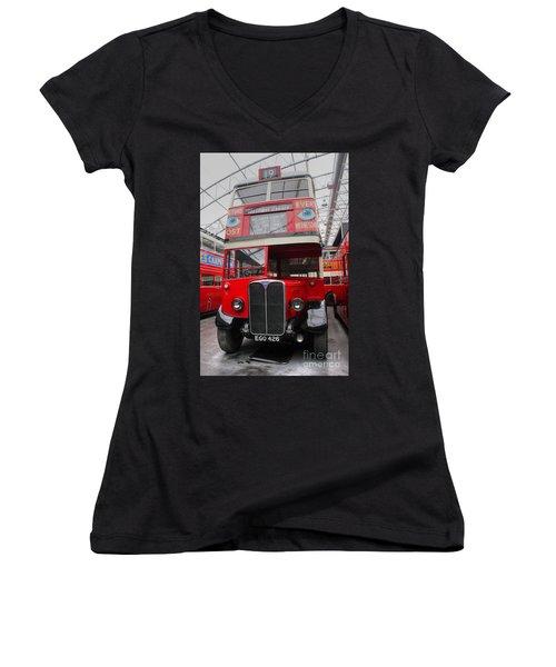1937 Aec Regent I Bus Stl2377 Women's V-Neck T-Shirt